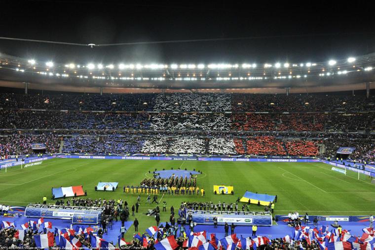 Les Bleus sur la pelouse du Stade de France lors du match France/Ukraine le 18/11/2013