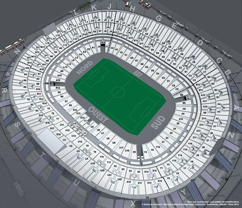 Plan de salle du match France / Ukraine le vendredi 27 mars 2020 au Stade de France
