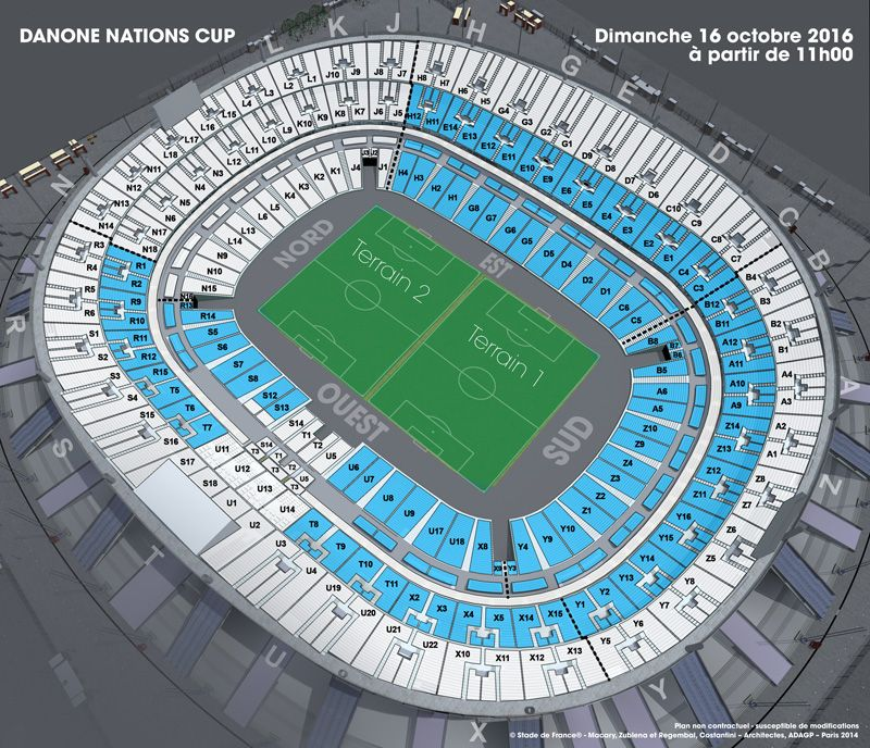 Plan de salle Danone Nations Cup au Stade de France